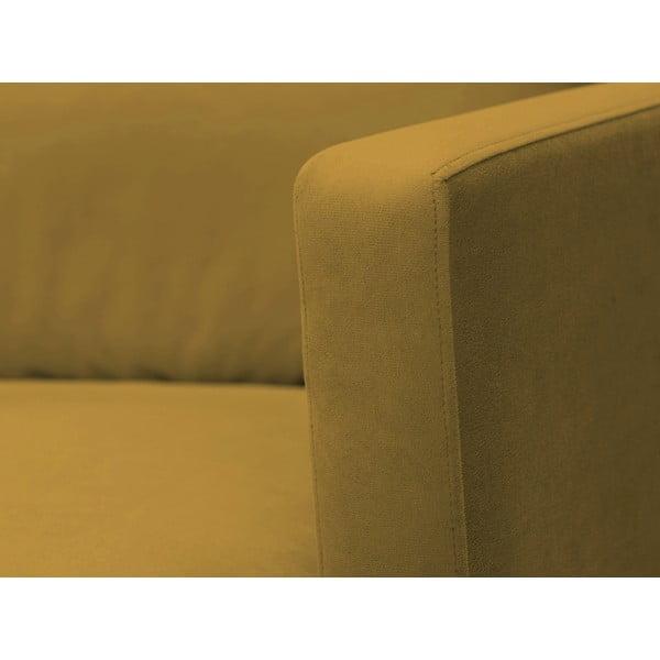 Žlutá trojmístná pohovka s podnožím v černé barvě Windsor & Co Sofas Jupiter