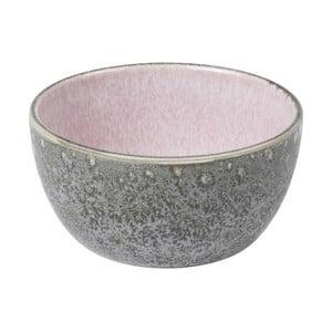 Šedá kameninová miska s vnitřní glazurou v růžové barvě Bitz Mensa, průměr 10 cm