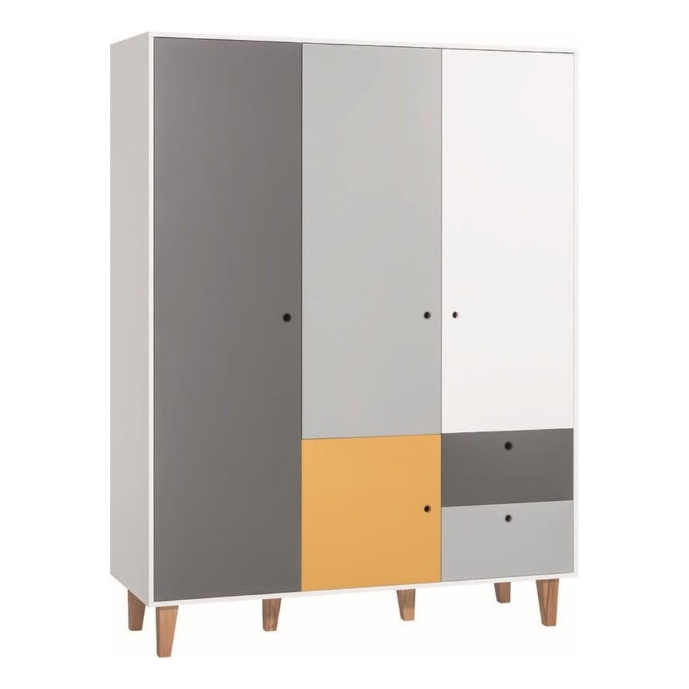Bílo-šedá čtyřdveřová šatní skříň se žlutým detailem Vox Concept