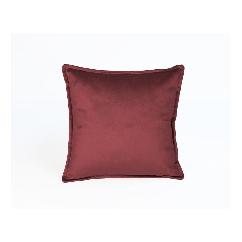 Tmavě červený dekorativní polštář Velvet Atelier, 45 x 45 cm