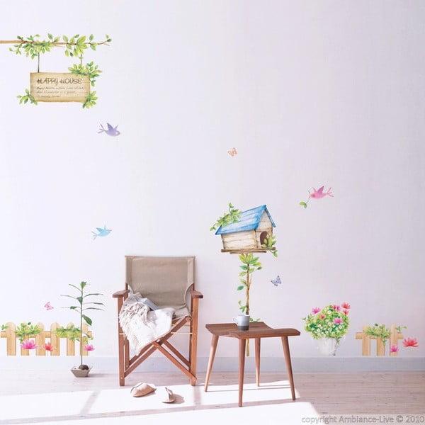 Sada nástěnných samolepek Ambiance Happy House, 42x30 cm