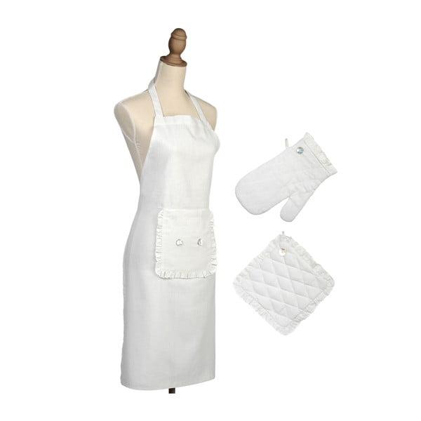 Sada  kuchyňské zástěry, rukavice a podložky Button