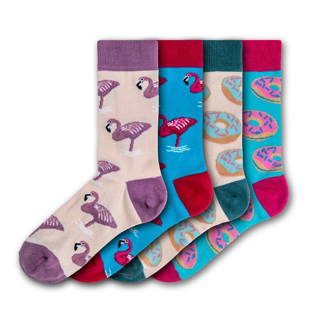 Sada 4 párů dámských ponžek Funky Steps Flamingo, velikost 35 - 39