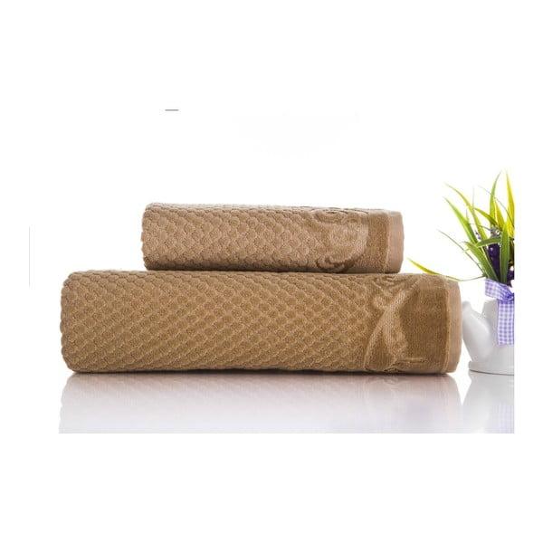Sada 2ks ručníků Acustic Light Brown, 50x90 cm a 70x140 cm