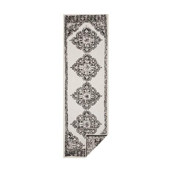 Covor adecvat pentru exterior Bougari Cofete, 80 x 350 cm, negru-crem