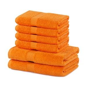 Set 2 bavlněných oranžových osušek a 4 ručníků DecoKing Marina