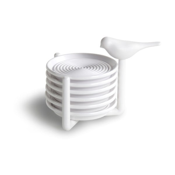 Set 6 bílých podtácků se stojanem Qualy&CO Sparrow Coaster