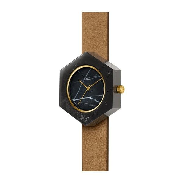 Černé hranaté mramorové hodinky s hnědým řemínkem Analog Watch Co.