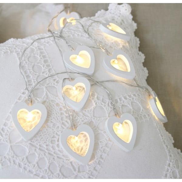 Světelný řetěz Hearts 135 cm, bílý