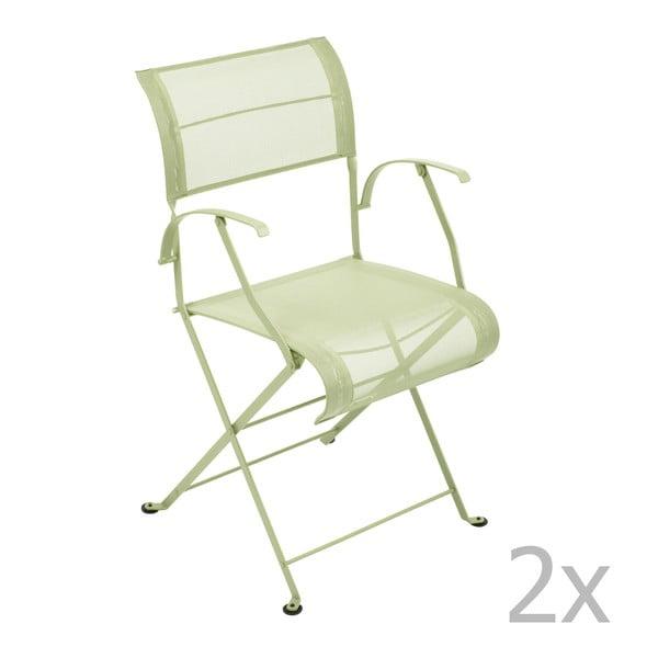 Sada 2 zelenkavých skládacích židlí s područkami Fermob Dune