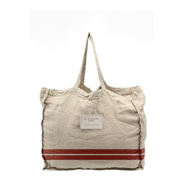 Geantă textilă Linen Red Stripes, lățime 50 cm