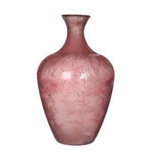 Růžová skleněná váza Mica Olivier, 65x40cm