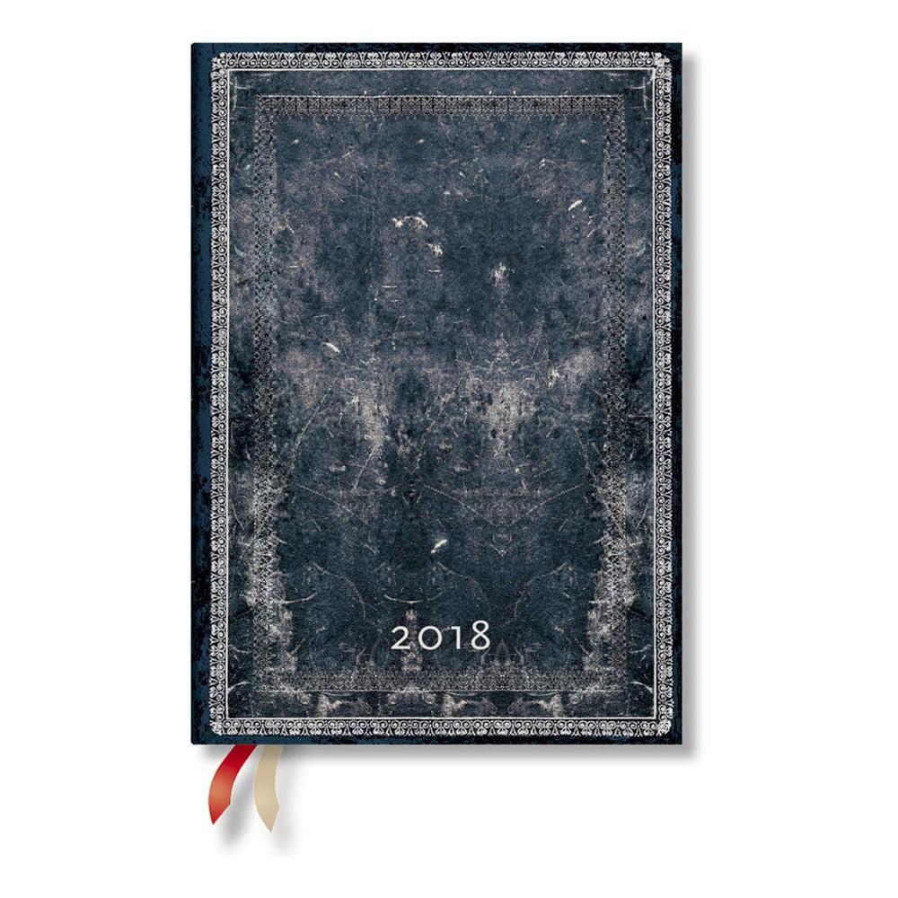 Diář na 2018 s horizontálním rozložením Paperblanks Midnight Midi