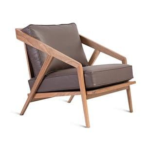 Hnědé kožené křeslo s konstrukcí z ořechového dřeva Charlie Pommier Serious