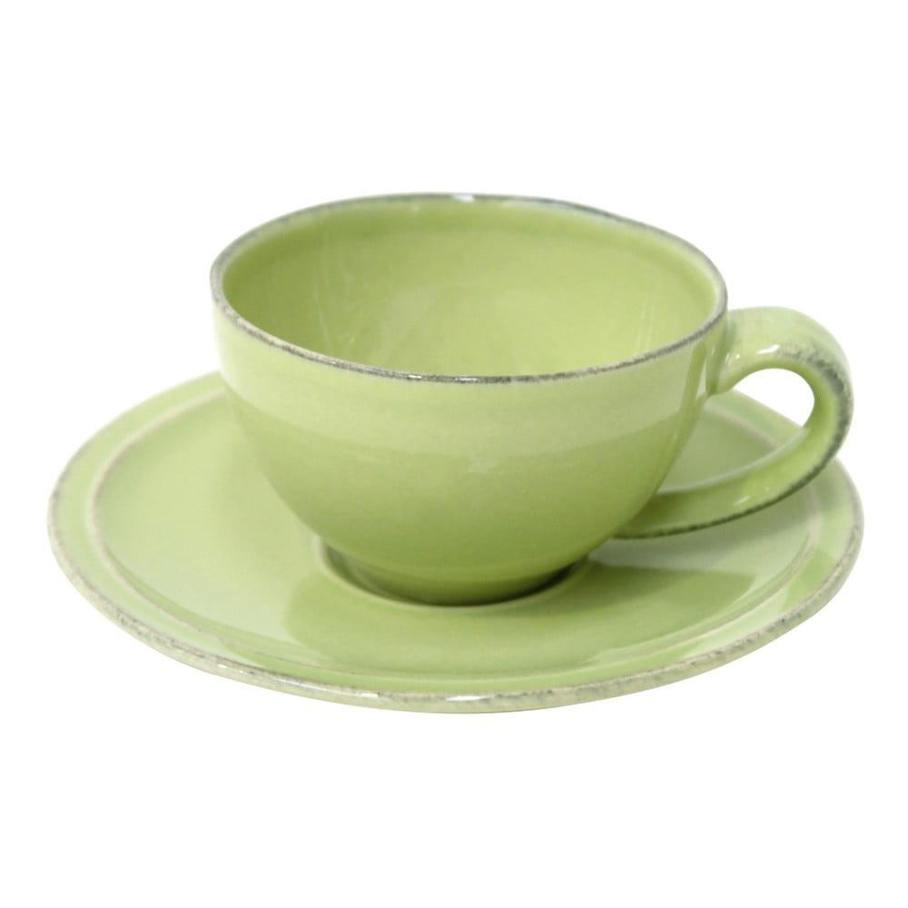 Zelený kameninový šálek na kávu s podšálkem Costa Nova Friso, objem 90 ml