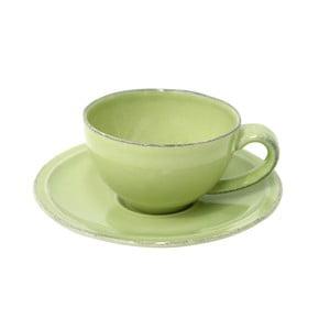 Zelený kameninový šálek na kávu s podšálkem Costa Nova Friso, objem 90ml