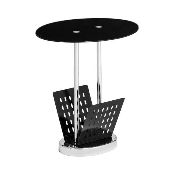 Stolek se stojánkem na magazíny Black Glass, 40x50 cm