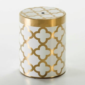 Taburet cu detalii aurii Thai Natura, alb