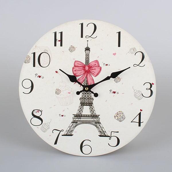 Wiszący zegar drewniany Dakls Paris, ⌀ 34 cm