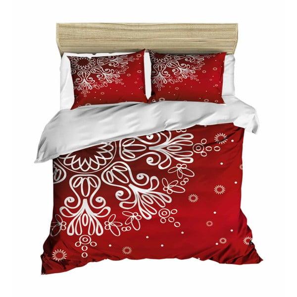Lenjerie de pat cu cearșaf Red Snowflake, 200 x 220 cm
