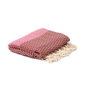 Červeno-růžový hammam ručník Spa Time Zig, 95x180cm