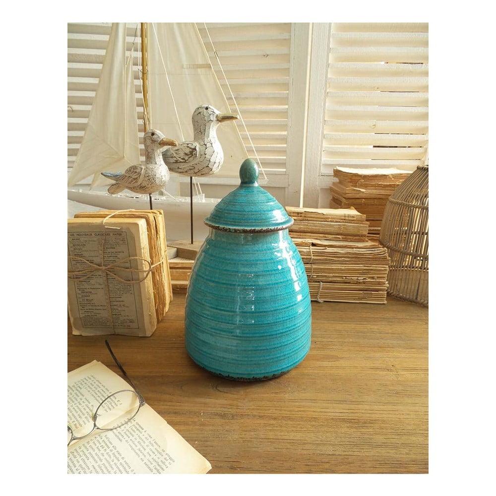 Tyrkysová keramická nádoba s víkem Orchidea Milano, 28 cm