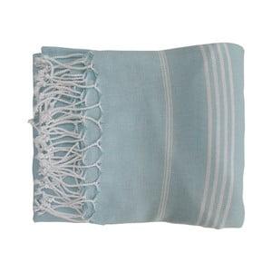 Prosop țesut manual din bumbac premium Sultan, 100 x 80 cm, albastru