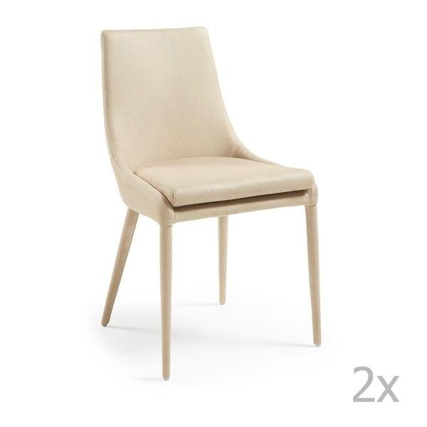 Sada 2 béžových jídelních židlí La Forma Dant