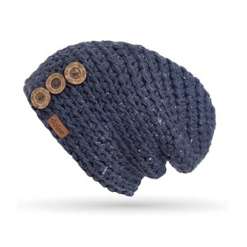 Căciulă cu nasturi, tricotată manual DOKE Denim imagine