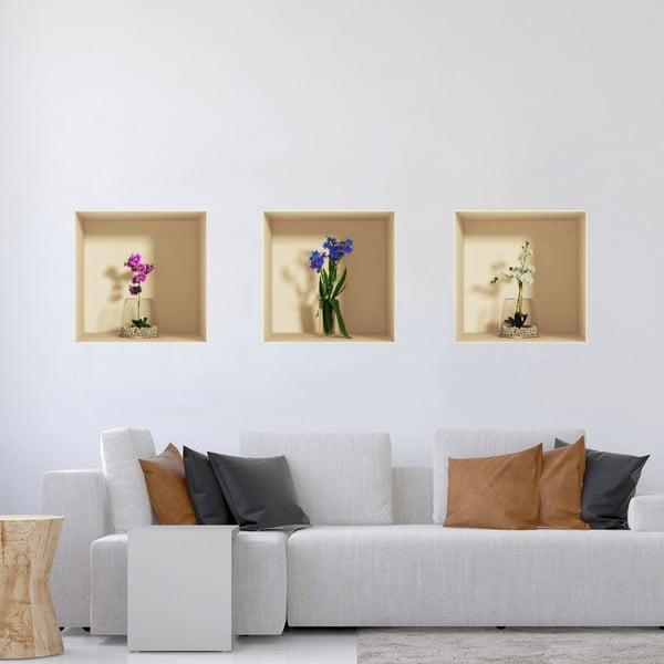 Set 3 autocolante cu efect 3D Ambiance Orchids