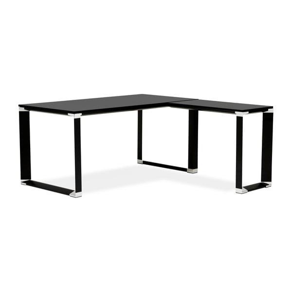 Czarne biurko narożne z drewnianym blatem Kokoon Warner