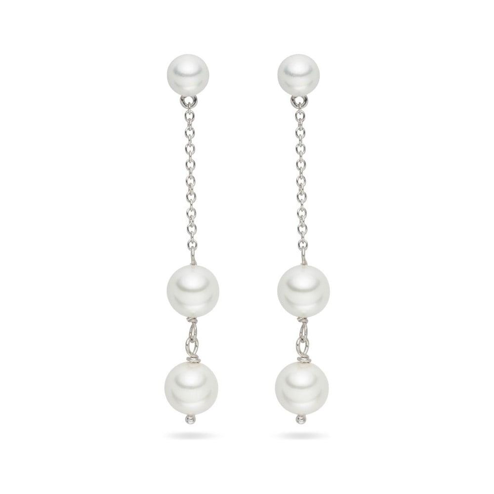 Bílé perlové náušnice Pearls Of London Romance, 5,5 cm