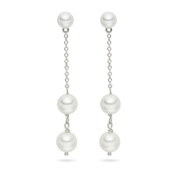 Bílé perlové náušnice Pearls Of London Romance, 5.5cm