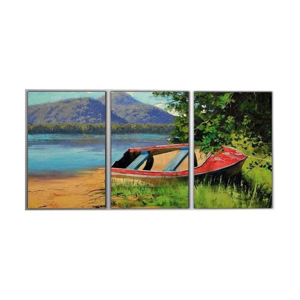 3dílný obraz Red Boat, 45x90 cm
