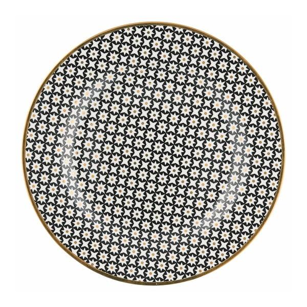 Tanier z kostného porcelánu s čiernym vzorom Green Gate Dot, ⌀ 20,5 cm