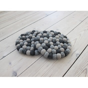 Suport pahar, cu bile din lână Wooldot Ball Coaster, ⌀ 20 cm, gri închis imagine