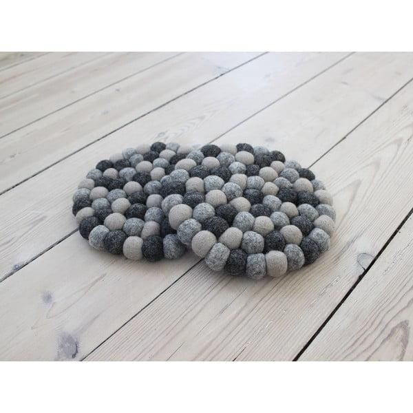 Ball Coaster sötétszürke golyós gyapjúalátét, ⌀ 20 cm - Wooldot