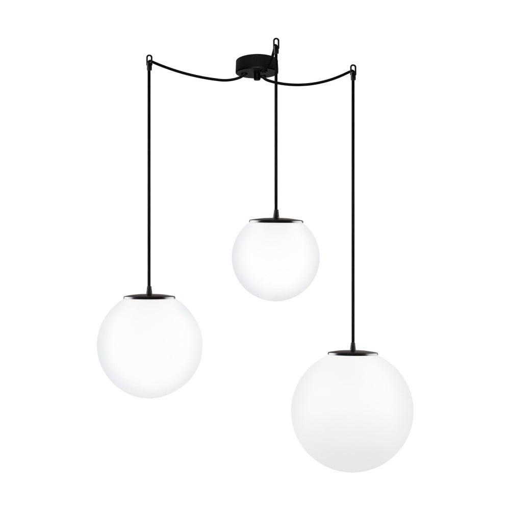 Bílé trojité závěsné svítidlo s černými kabely Sotto Luce TSUKI MIX Elementary