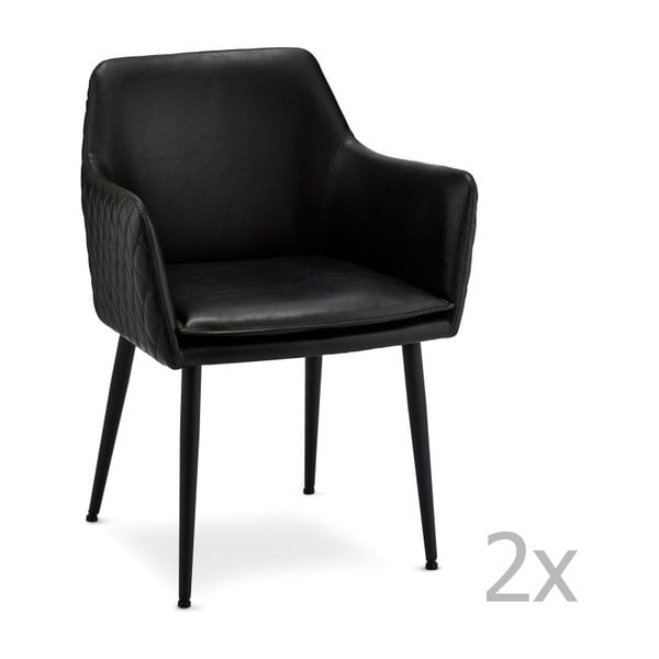 Set 2 scaune Furnhouse Shiva, negru