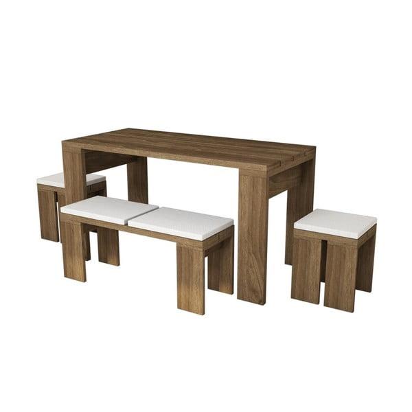 Sada jedálenského stolu s lavicou a stoličkami Asrina