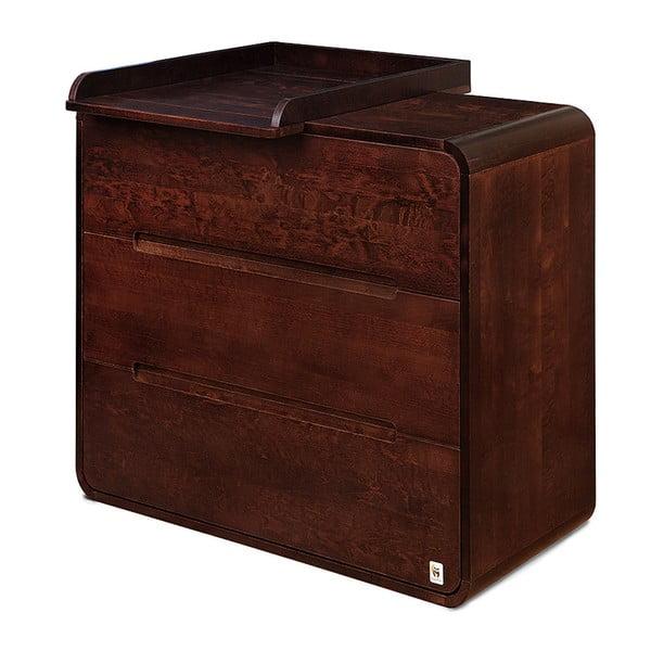Comodă cu 3 sertare și masă de înfășat detașabilă YappyKids Owl, maro închis