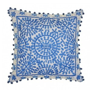 Modrý vyšívaný polštář BombayDuck Souk, 40x40cm