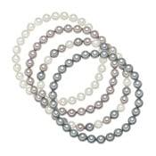 Sada 4 náramků s šedobílými perlami Pearldesse Beria,délka19 cm