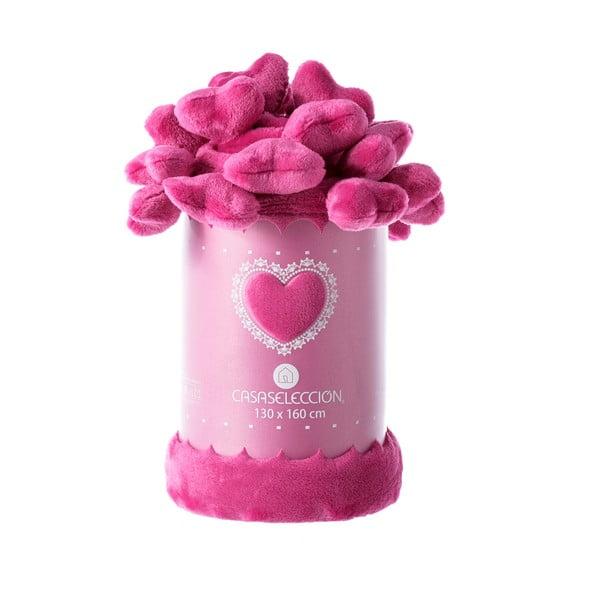 Pătură Unimasa Heart, 130 x 160 cm, roz