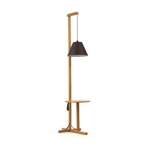 Floor fekete állólámpa, natúr fa szerkezettel - Woodman