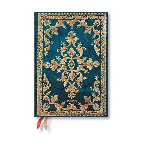 Modrý diár na rok 2020 v tvrdej väzbe Paperblanks Metauro, 160 strán