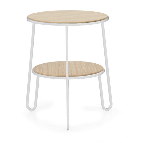 Odkladací stolík s bielou kovovou konštrukciou HARTÔ Anatole, ⌀40cm