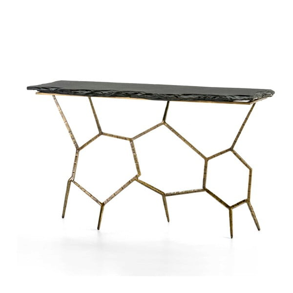 Konzolový stolek s kamenou deskou a železnou konstrukcí Thai Natura, 130 x 77 cm