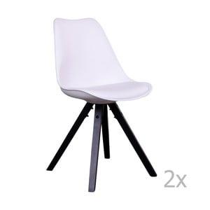 Set 2 scaune cu picioare negre House Nordic Bergen, alb
