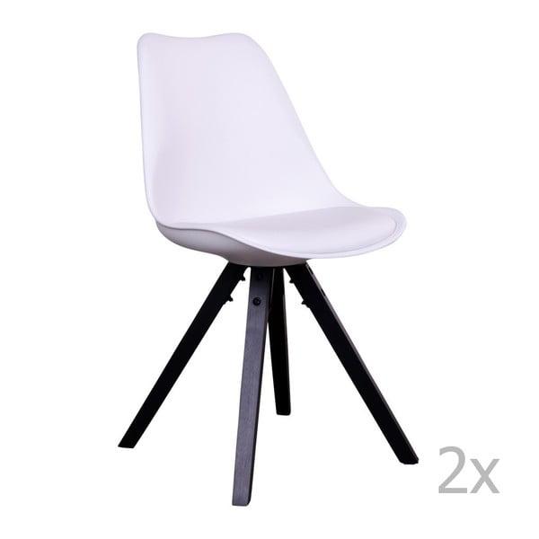 Bergen fehér szék fekete lábakkal, 2 db - House Nordic